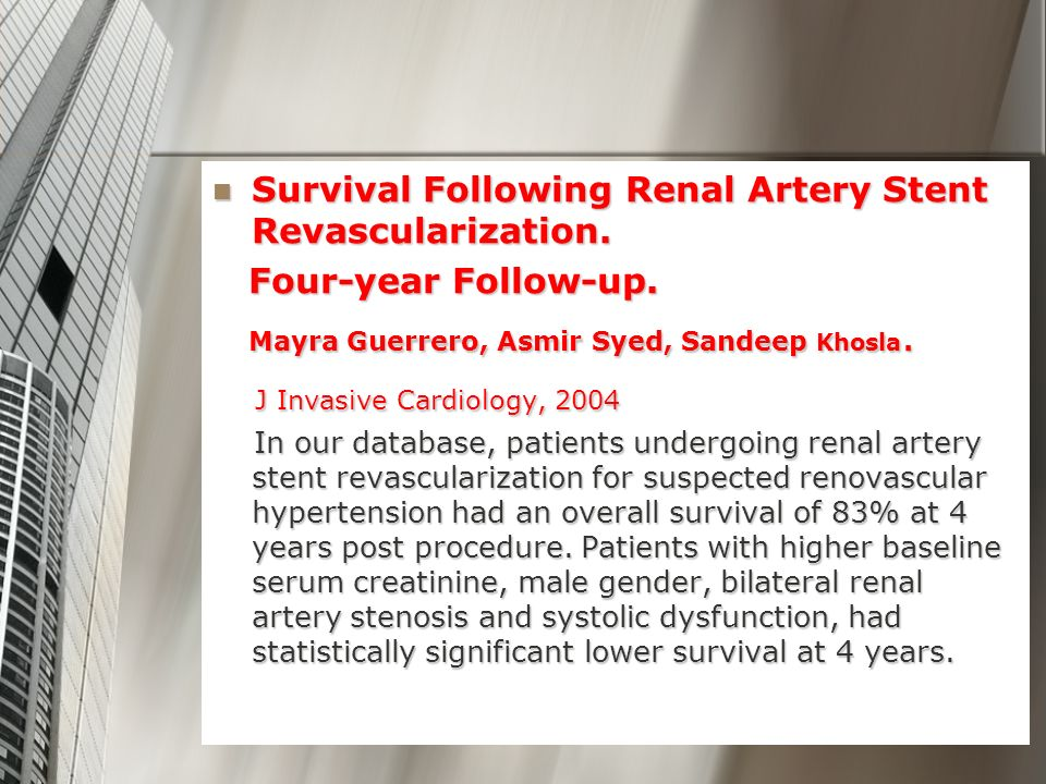 Survival Following Renal Artery Stent Revascularization.