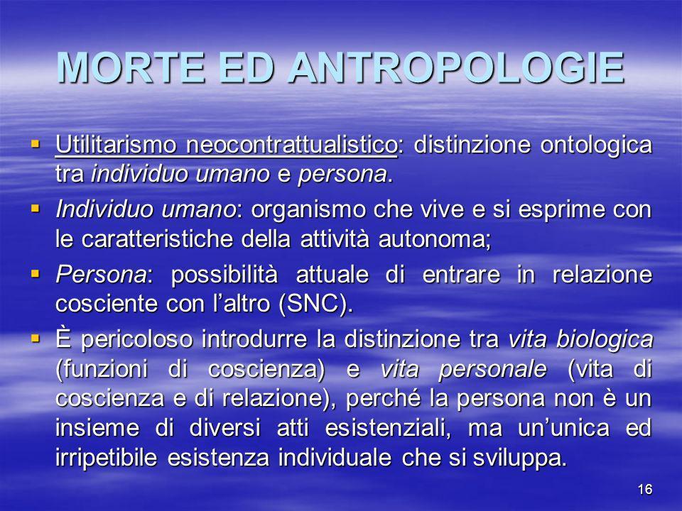 MORTE ED ANTROPOLOGIE Utilitarismo neocontrattualistico: distinzione ontologica tra individuo umano e persona.