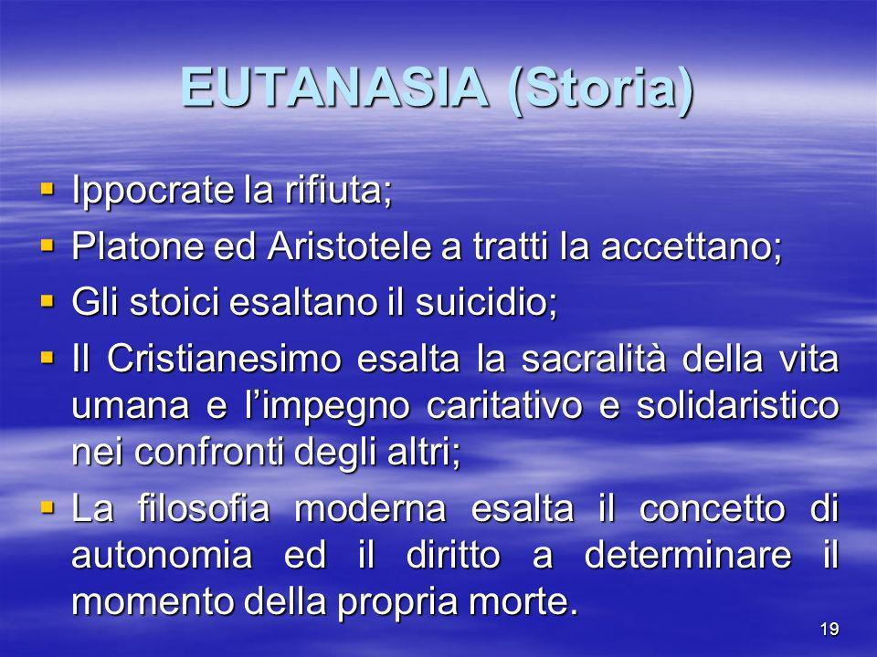 EUTANASIA (Storia) Ippocrate la rifiuta;