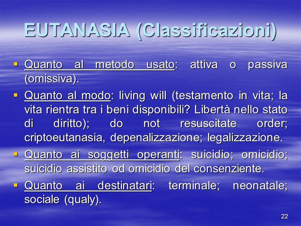 EUTANASIA (Classificazioni)