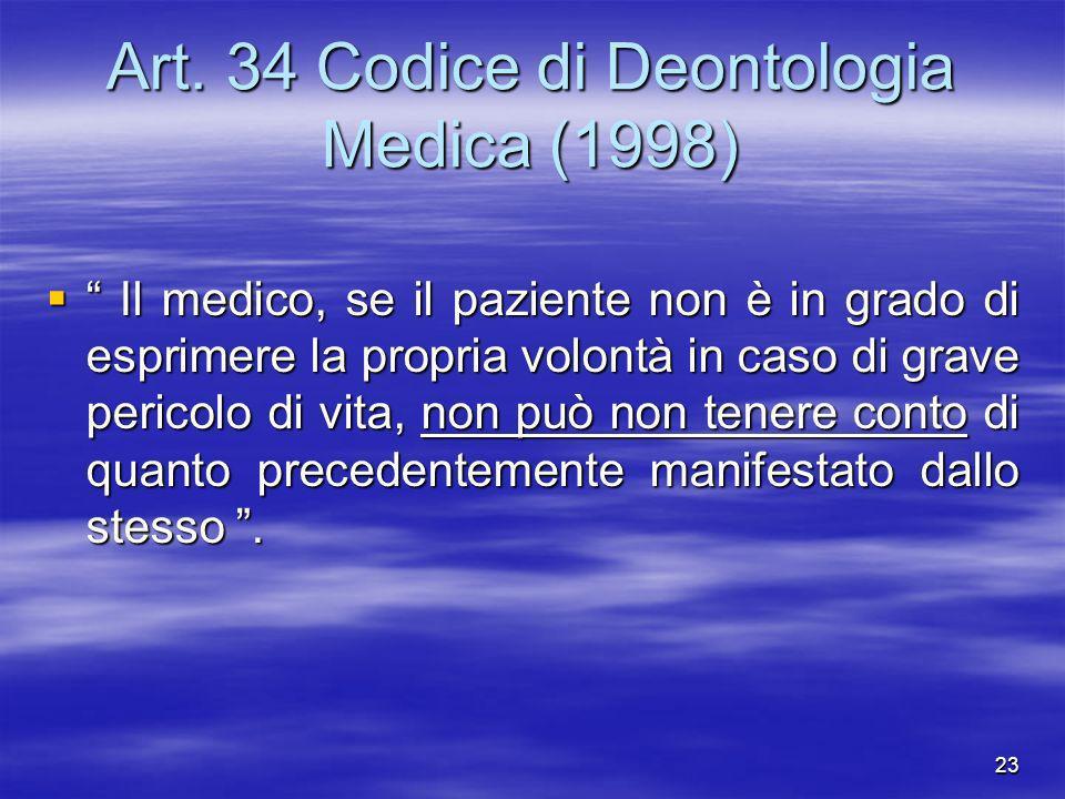 Art. 34 Codice di Deontologia Medica (1998)