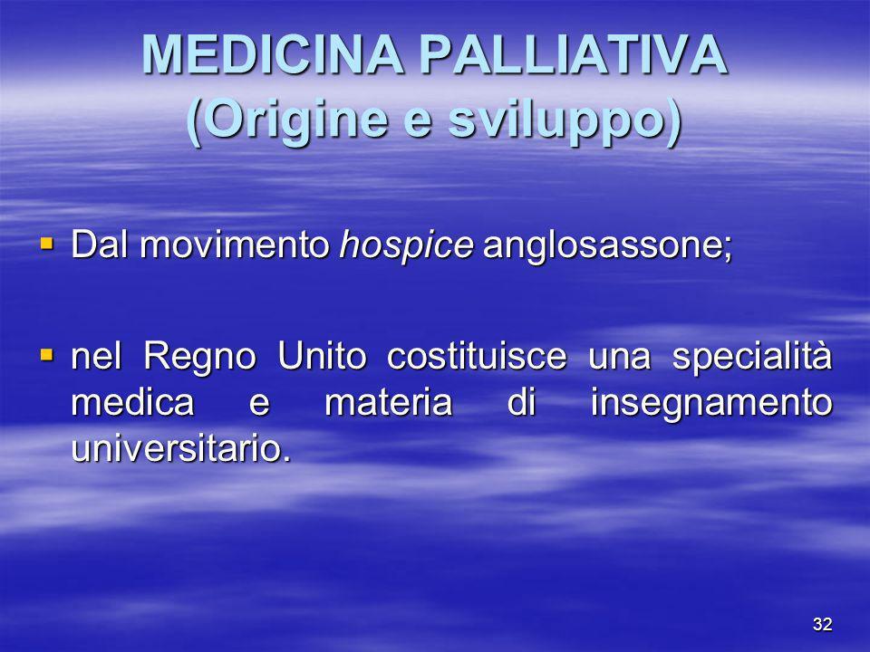 MEDICINA PALLIATIVA (Origine e sviluppo)