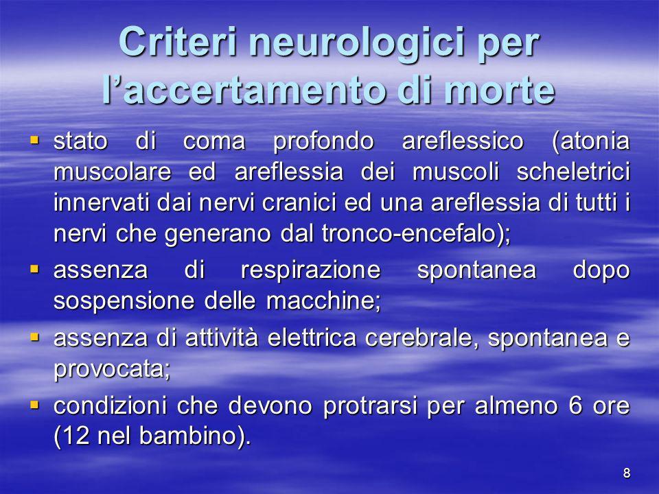 Criteri neurologici per l'accertamento di morte