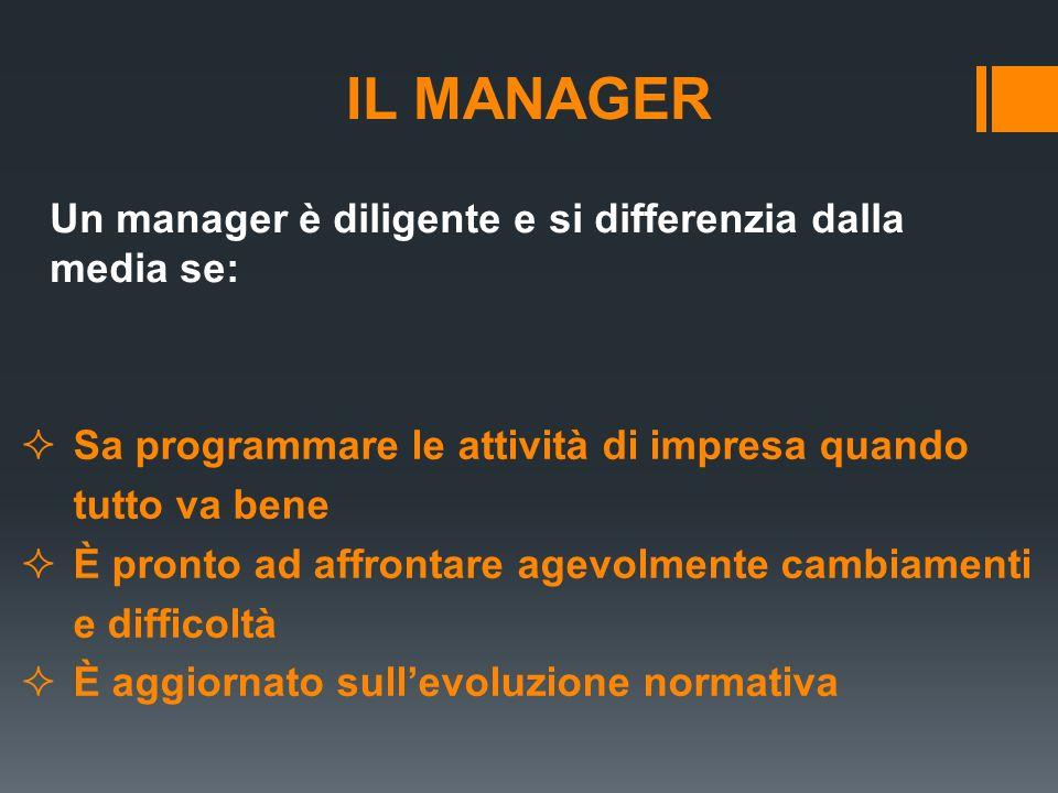 IL MANAGER Un manager è diligente e si differenzia dalla media se: