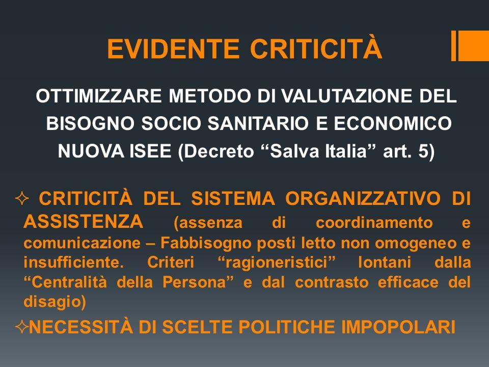 EVIDENTE CRITICITÀ OTTIMIZZARE METODO DI VALUTAZIONE DEL BISOGNO SOCIO SANITARIO E ECONOMICO NUOVA ISEE (Decreto Salva Italia art. 5)