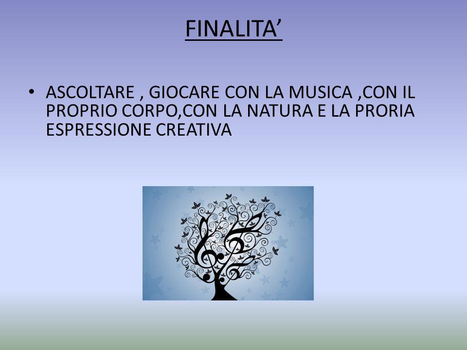 FINALITA' ASCOLTARE , GIOCARE CON LA MUSICA ,CON IL PROPRIO CORPO,CON LA NATURA E LA PRORIA ESPRESSIONE CREATIVA.