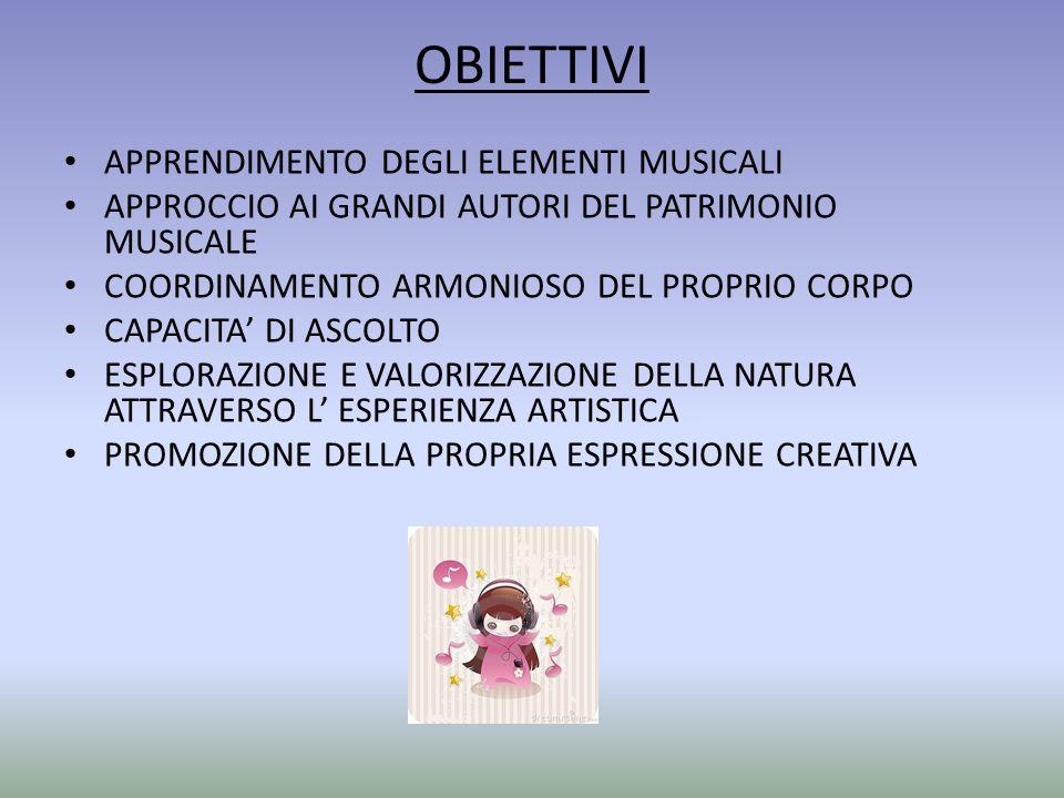 OBIETTIVI APPRENDIMENTO DEGLI ELEMENTI MUSICALI