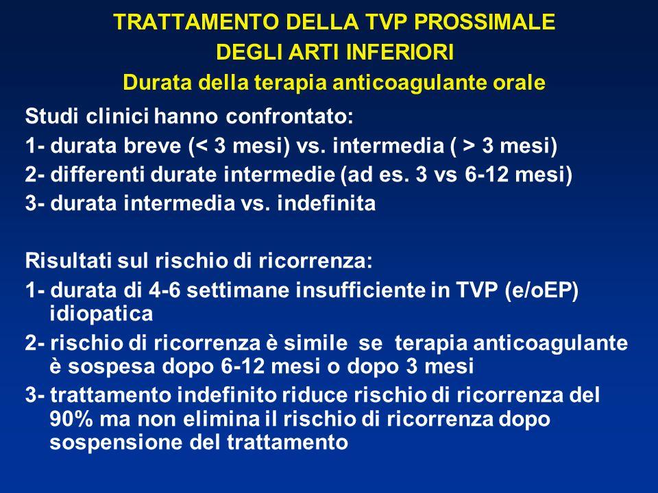 TRATTAMENTO DELLA TVP PROSSIMALE DEGLI ARTI INFERIORI Durata della terapia anticoagulante orale