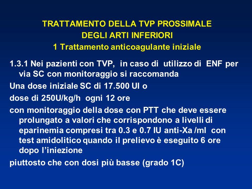 TRATTAMENTO DELLA TVP PROSSIMALE DEGLI ARTI INFERIORI 1 Trattamento anticoagulante iniziale