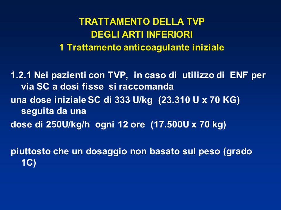 TRATTAMENTO DELLA TVP DEGLI ARTI INFERIORI 1 Trattamento anticoagulante iniziale