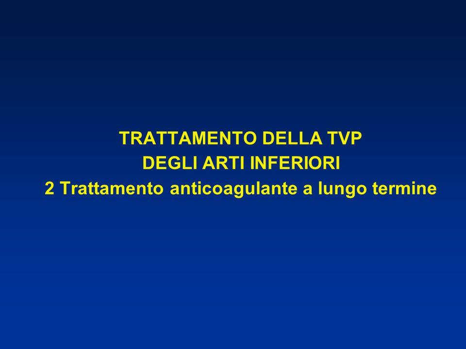 TRATTAMENTO DELLA TVP DEGLI ARTI INFERIORI 2 Trattamento anticoagulante a lungo termine