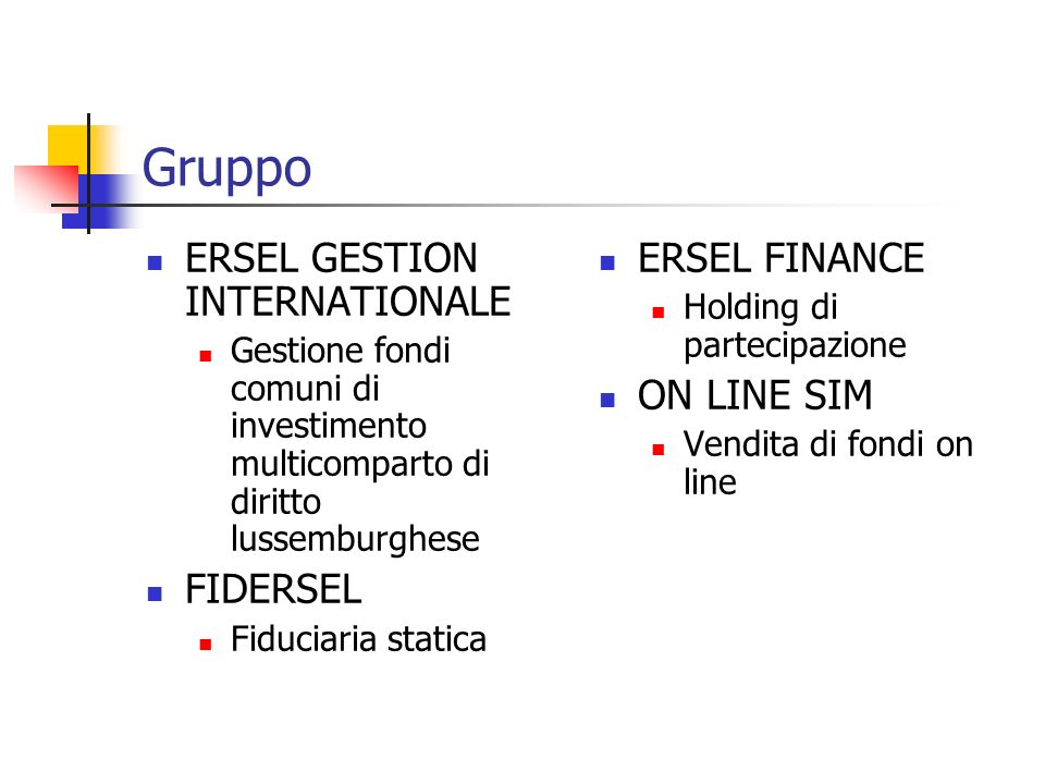 Gruppo ERSEL GESTION INTERNATIONALE FIDERSEL ERSEL FINANCE ON LINE SIM