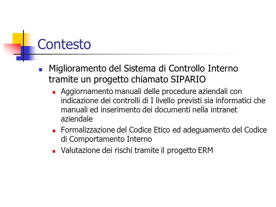 Contesto Miglioramento del Sistema di Controllo Interno tramite un progetto chiamato SIPARIO.