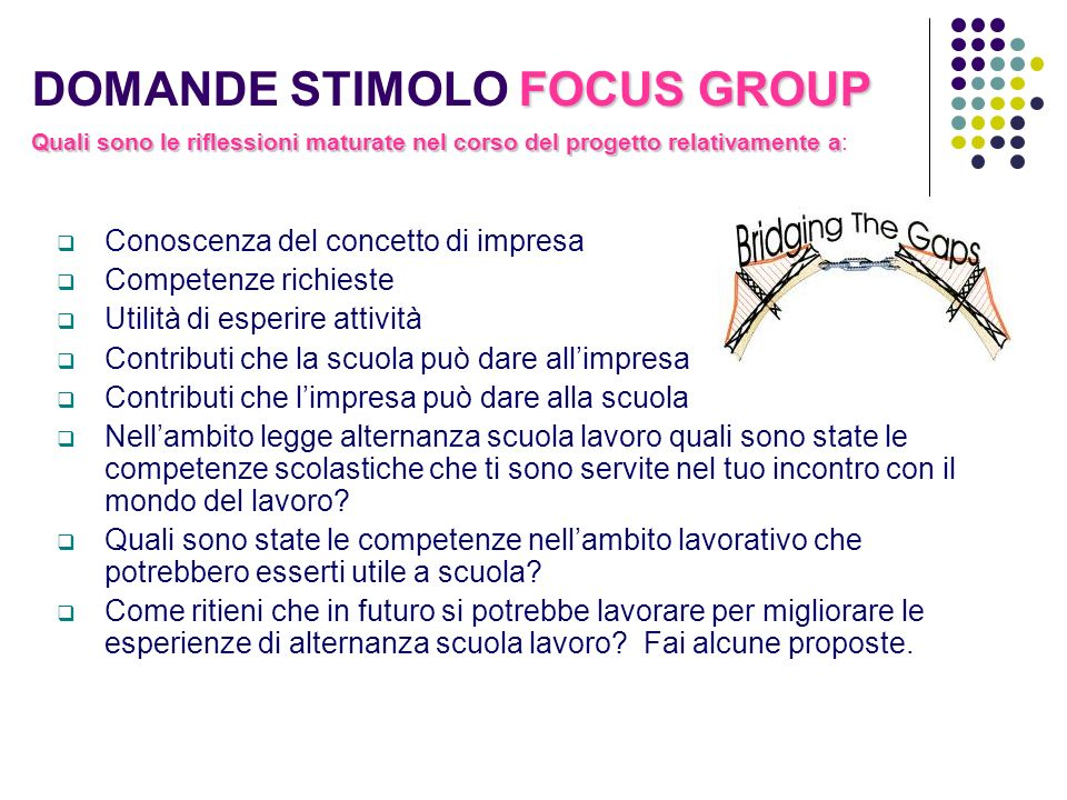 DOMANDE STIMOLO FOCUS GROUP