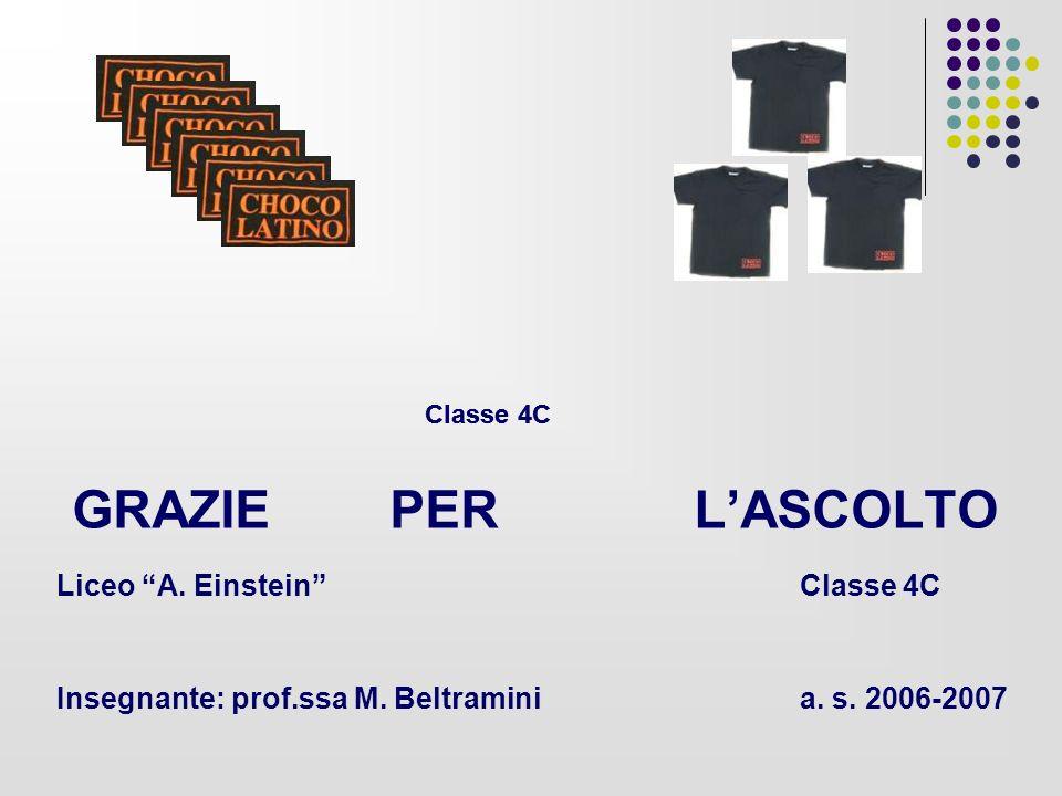 GRAZIE PER L'ASCOLTO Liceo A. Einstein Classe 4C Insegnante: prof.ssa M. Beltramini a. s. 2006-2007