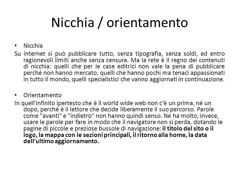 Nicchia / orientamento