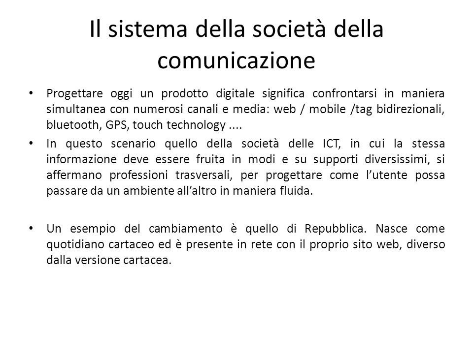 Il sistema della società della comunicazione