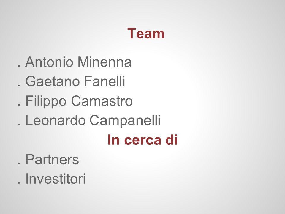 Team. Antonio Minenna. . Gaetano Fanelli. . Filippo Camastro. . Leonardo Campanelli. In cerca di. . Partners.