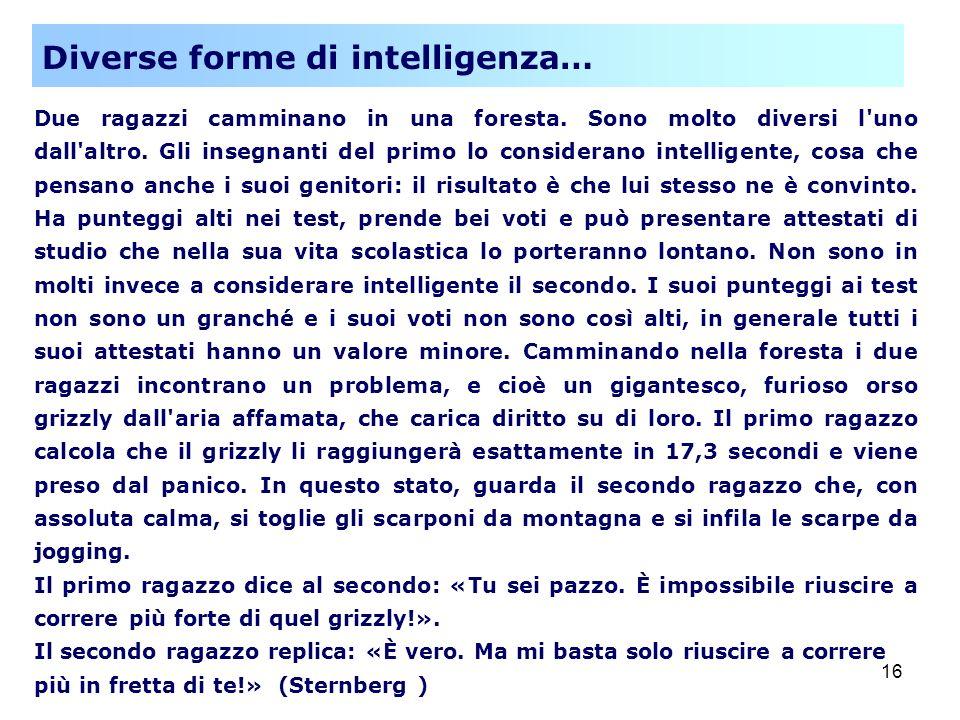 Diverse forme di intelligenza…