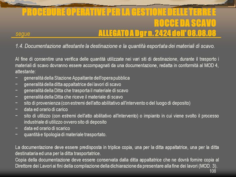 PROCEDURE OPERATIVE PER LA GESTIONE DELLE TERRE E ROCCE DA SCAVO ALLEGATO A Dgr n. 2424 dell 08.08.08