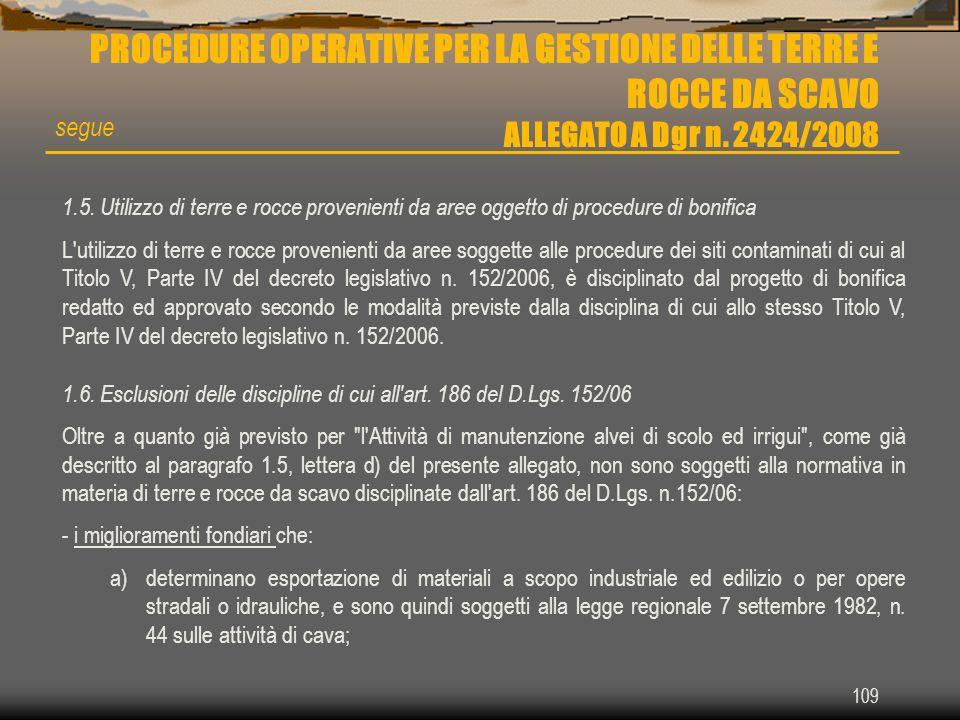 PROCEDURE OPERATIVE PER LA GESTIONE DELLE TERRE E ROCCE DA SCAVO ALLEGATO A Dgr n. 2424/2008