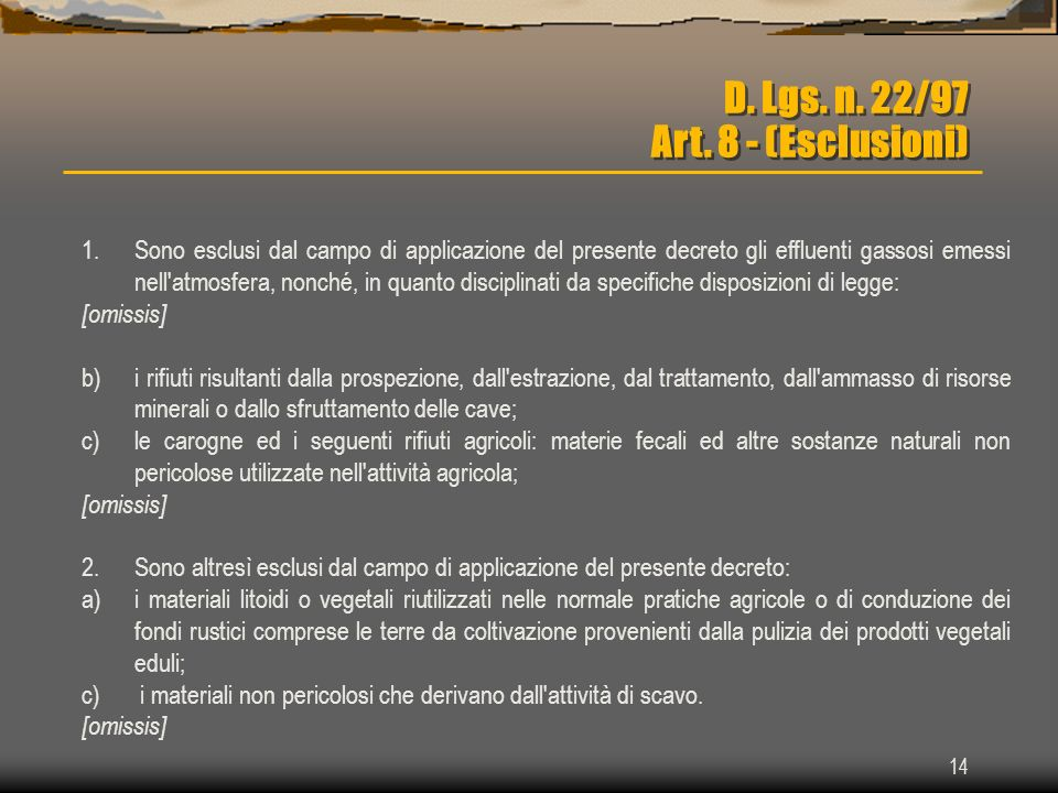 D. Lgs. n. 22/97 Art. 8 - (Esclusioni)