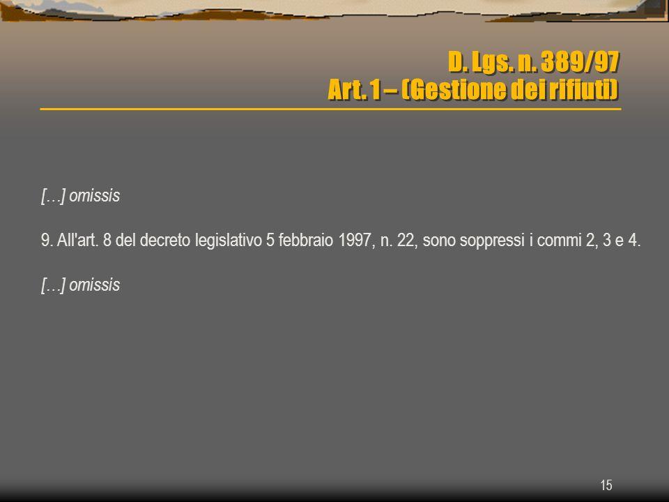 D. Lgs. n. 389/97 Art. 1 – (Gestione dei rifiuti)