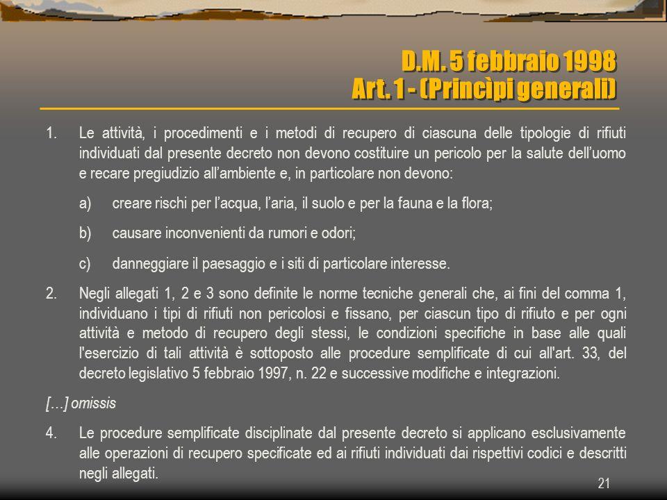 D.M. 5 febbraio 1998 Art. 1 - (Princìpi generali)
