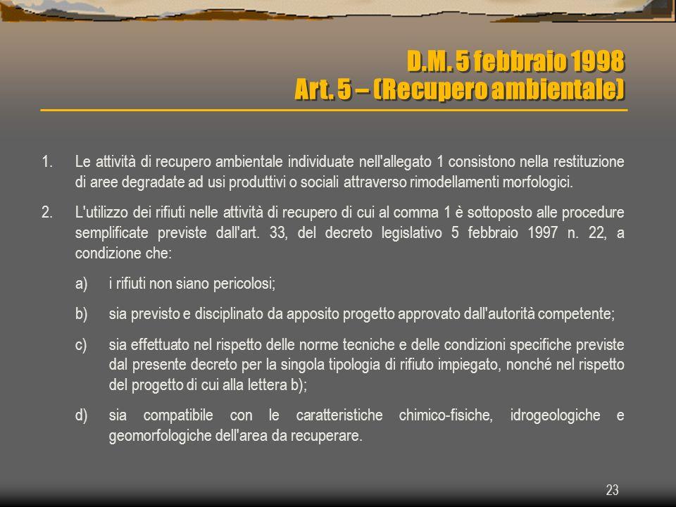 D.M. 5 febbraio 1998 Art. 5 – (Recupero ambientale)