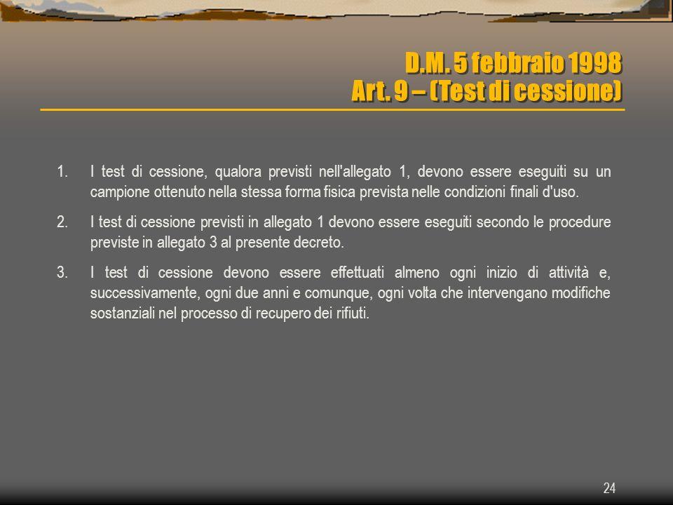 D.M. 5 febbraio 1998 Art. 9 – (Test di cessione)