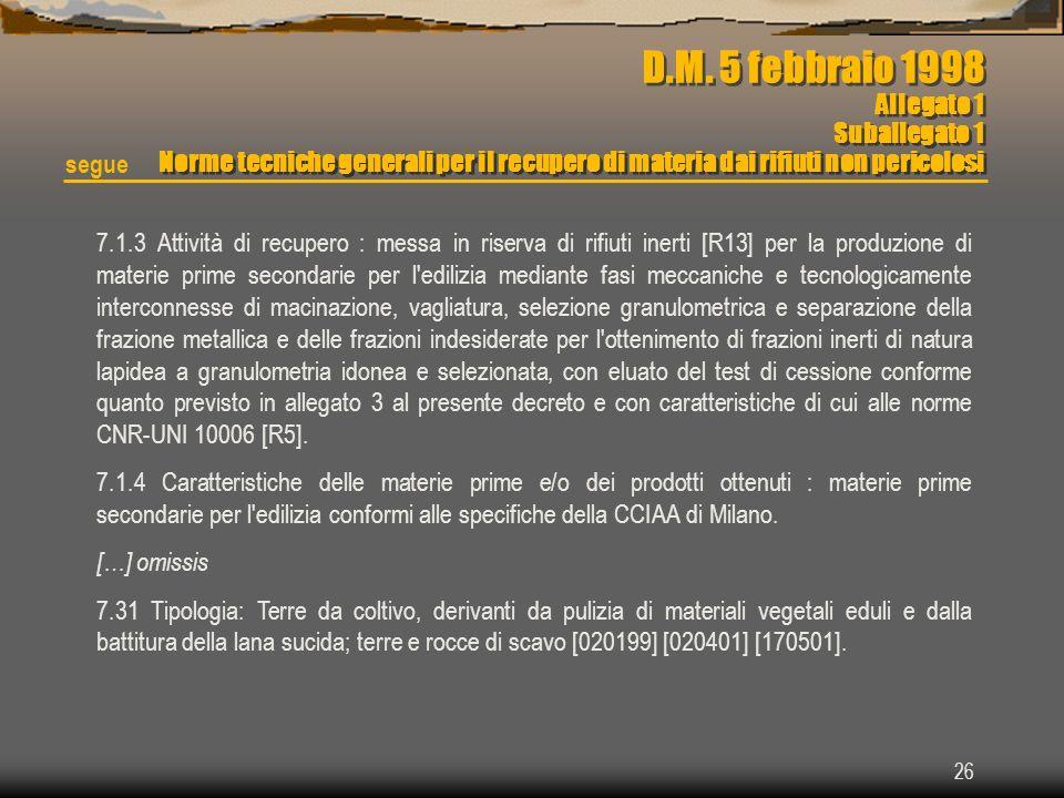 D.M. 5 febbraio 1998 Allegato 1 Suballegato 1 Norme tecniche generali per il recupero di materia dai rifiuti non pericolosi