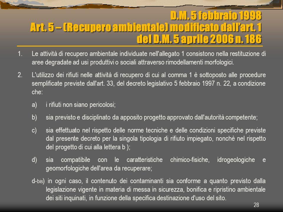 D.M. 5 febbraio 1998 Art. 5 – (Recupero ambientale) modificato dall'art. 1 del D.M. 5 aprile 2006 n. 186