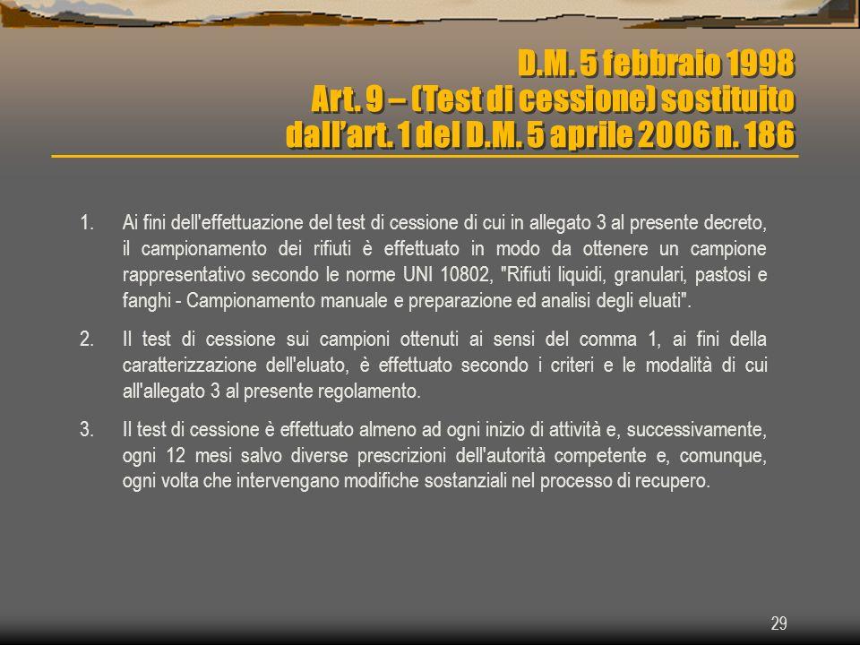 D. M. 5 febbraio 1998 Art. 9 – (Test di cessione) sostituito dall'art