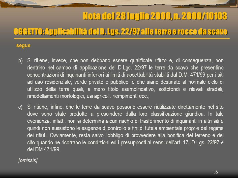 Nota del 28 luglio 2000, n. 2000/10103 OGGETTO: Applicabilità del D