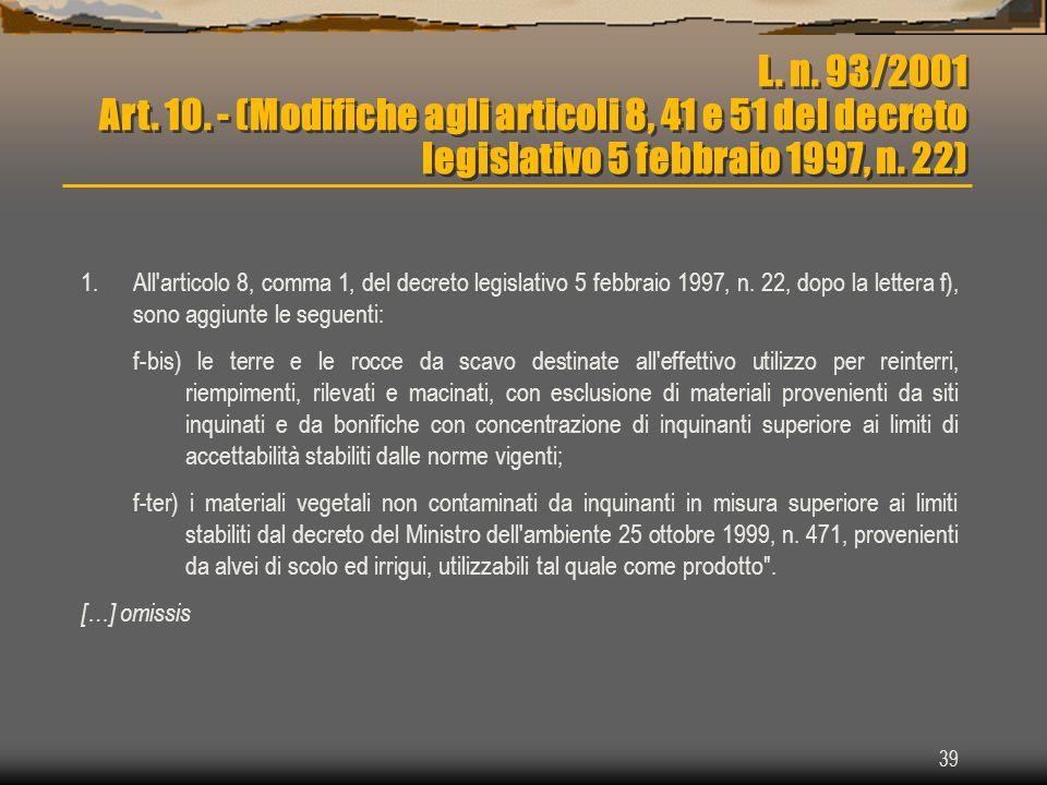 L. n. 93/2001 Art. 10. - (Modifiche agli articoli 8, 41 e 51 del decreto legislativo 5 febbraio 1997, n. 22)
