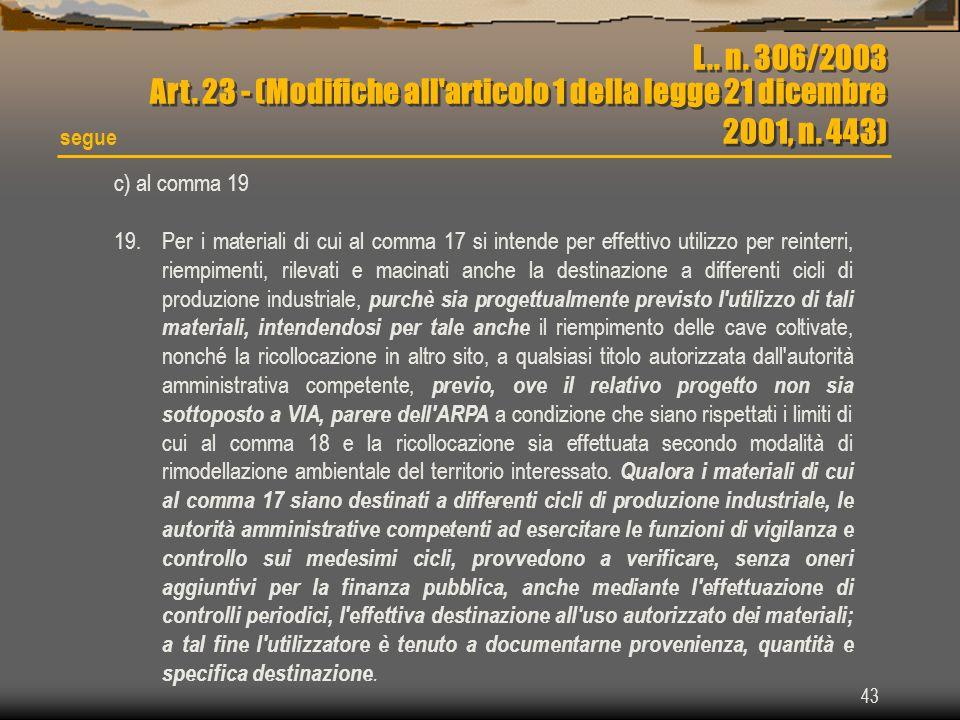 L.. n. 306/2003 Art. 23 - (Modifiche all articolo 1 della legge 21 dicembre 2001, n. 443)
