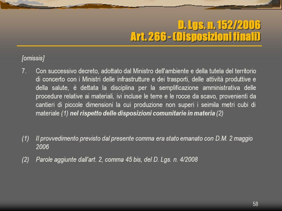D. Lgs. n. 152/2006 Art. 266 - (Disposizioni finali)