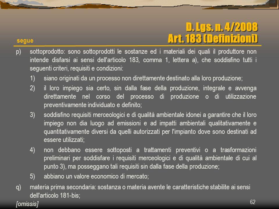 D. Lgs. n. 4/2008 Art. 183 (Definizioni)