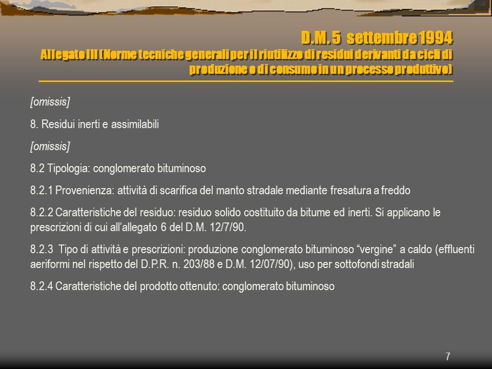 D.M. 5 settembre 1994 Allegato III (Norme tecniche generali per il riutilizzo di residui derivanti da cicli di produzione o di consumo in un processo produttivo)