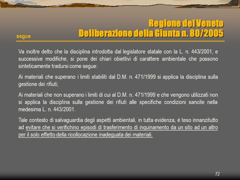 Regione del Veneto Deliberazione della Giunta n. 80/2005
