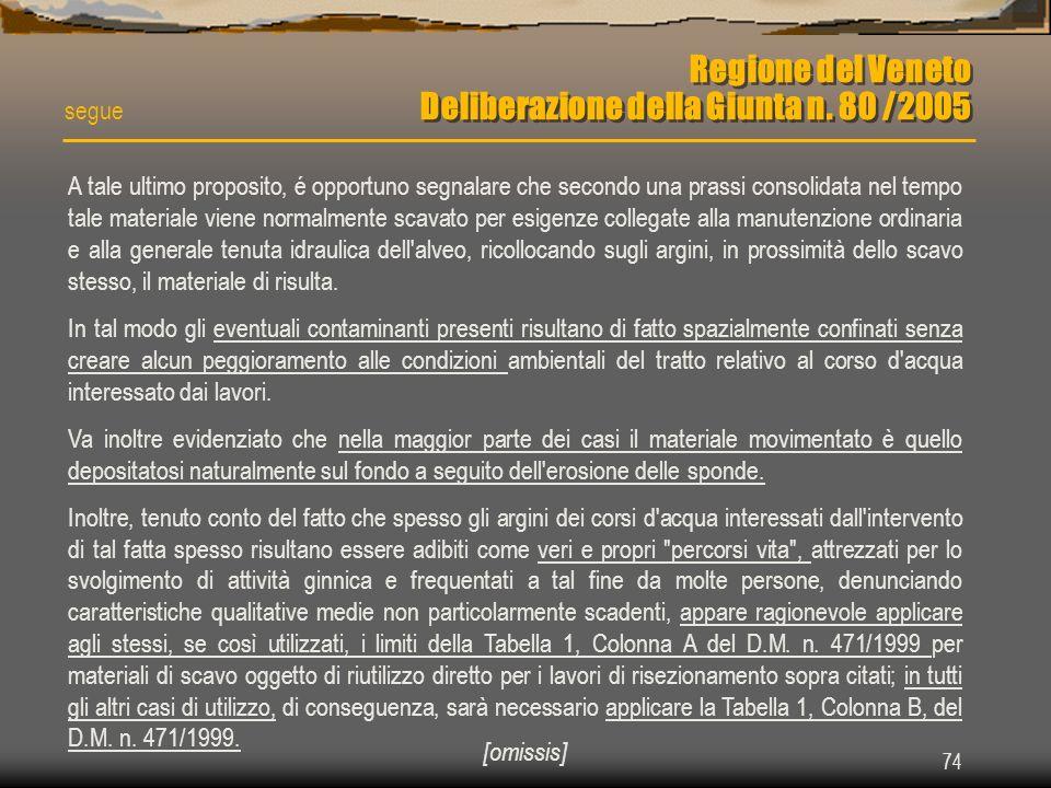 Regione del Veneto Deliberazione della Giunta n. 80 /2005