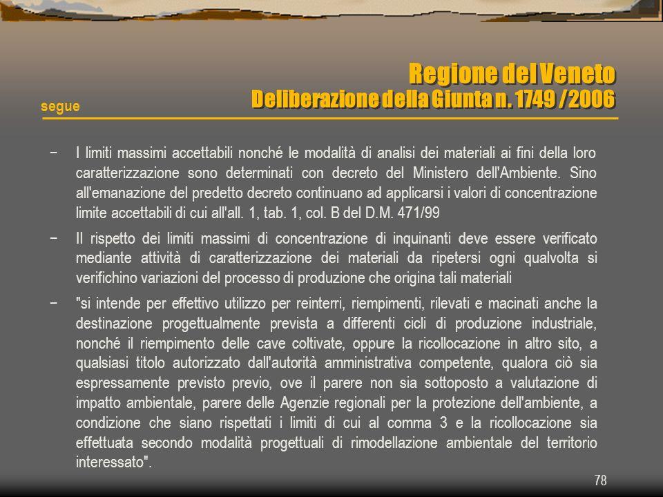 Regione del Veneto Deliberazione della Giunta n. 1749 /2006