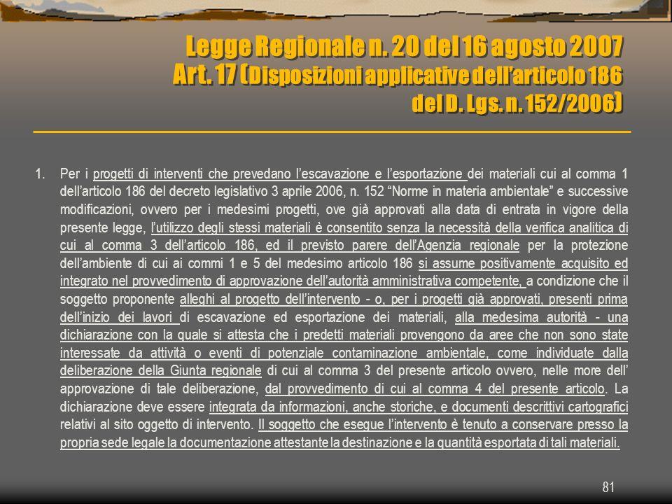 Legge Regionale n. 20 del 16 agosto 2007 Art