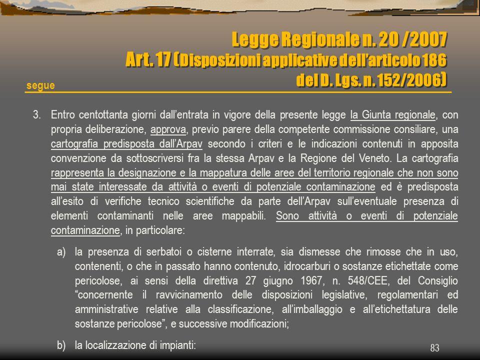 Legge Regionale n. 20 /2007 Art. 17 (Disposizioni applicative dell'articolo 186
