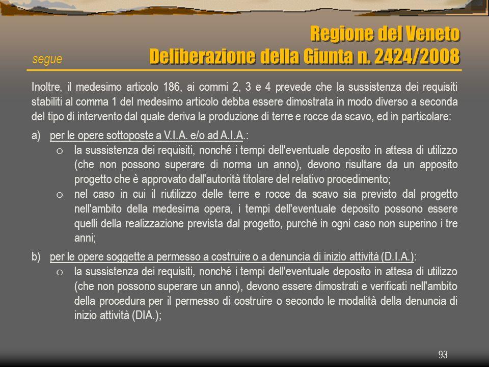 Regione del Veneto Deliberazione della Giunta n. 2424/2008