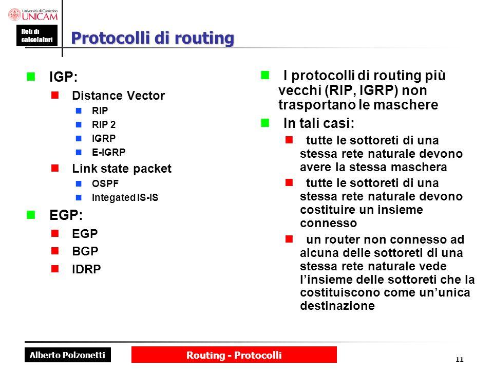 Protocolli di routing n IGP: n EGP: