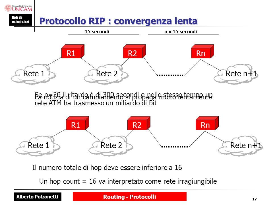 Protocollo RIP : convergenza lenta