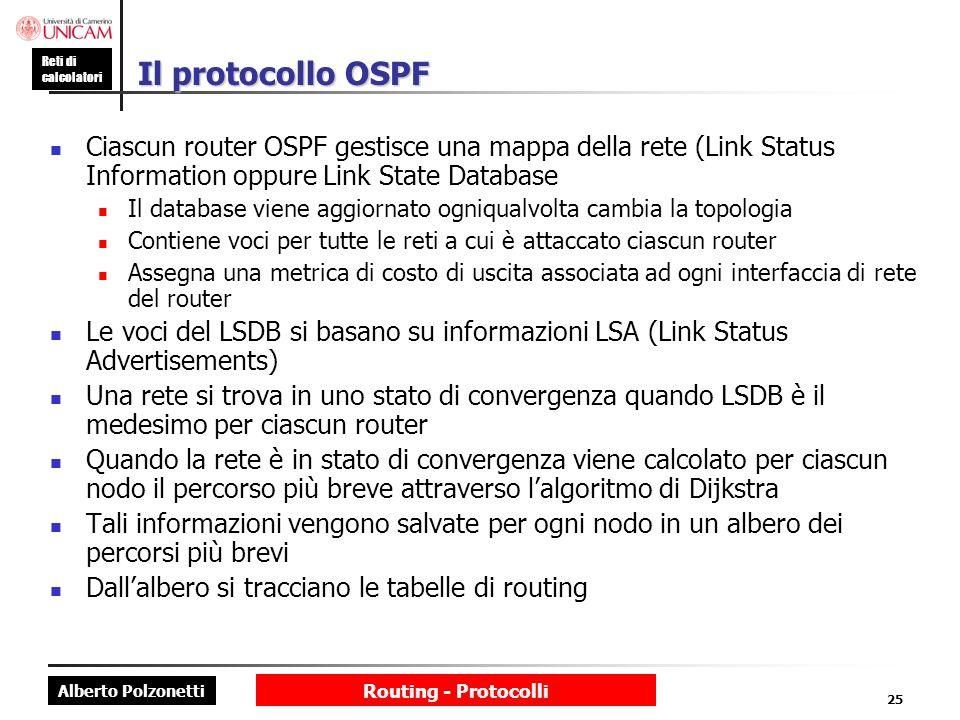 Il protocollo OSPF Ciascun router OSPF gestisce una mappa della rete (Link Status Information oppure Link State Database.