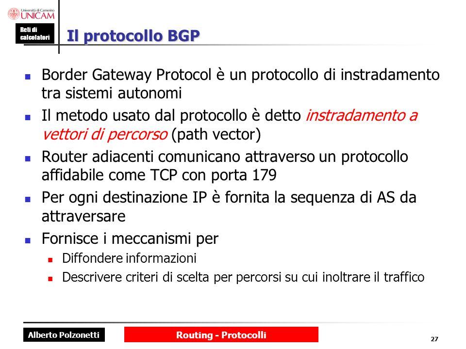 Per ogni destinazione IP è fornita la sequenza di AS da attraversare
