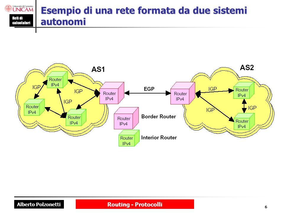 Esempio di una rete formata da due sistemi autonomi
